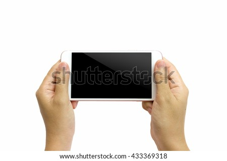 Hand holding smart phone isolated on white background - stock photo