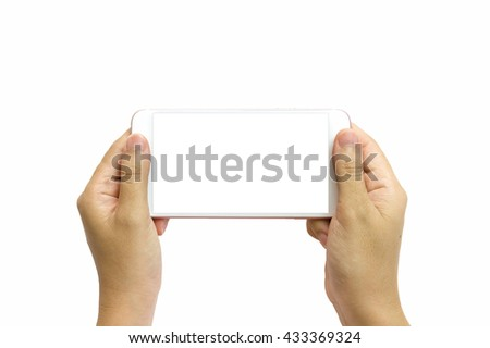 Hand holding smart phone isolated on white background and clipping path inside - stock photo