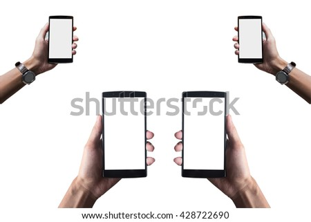 Hand holding smart phone isolated on white background with clipping path. Smart phone with blank screen and can be add your texts or others on smart phone.Smart phone concept. - stock photo