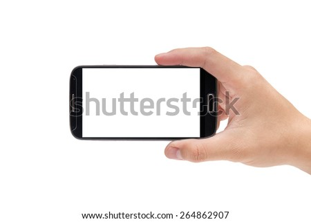 Hand holding smart phone (Mobile Phone)