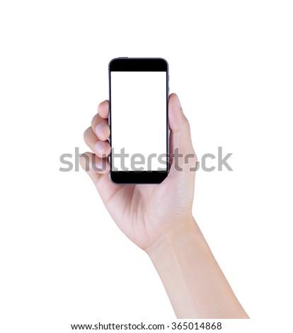 Hand holding smart phone on isolated white - stock photo