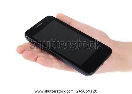 Hand holding smart phone  on white background - stock photo