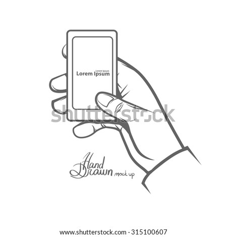 hand holding smart phone, simple illustration, hand drawn, isolated on white background