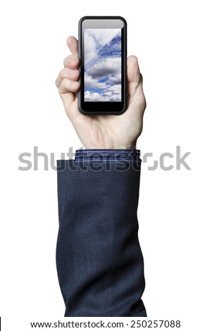 Hand holding smart phone with clouds on the screen   - stock photo