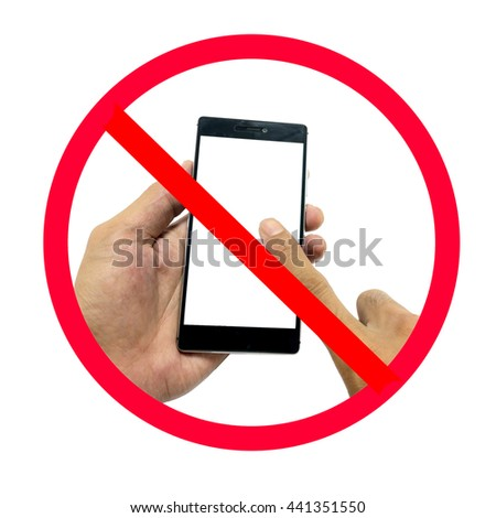 Hand holding smart phone with do not use smart phone sign isolated on white background.   - stock photo