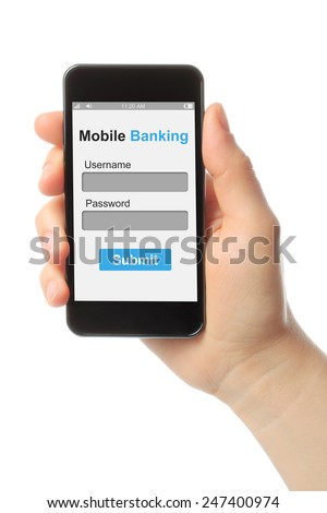 Hand holding smart phone with mobile banking login box on white background  - stock photo