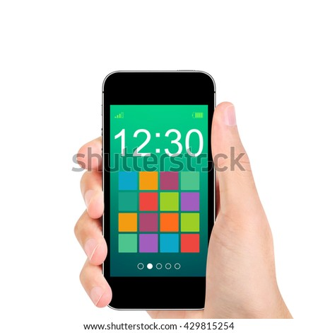 Hand holding smart phone with simple button app on blue screen. isolated on white background. - stock photo