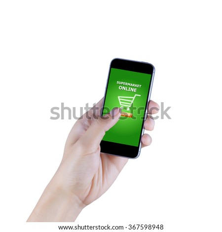 Hand holding smart phone with supermarket online display on isolated white