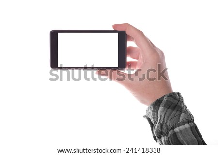 Hand holding Smartphone Device in Vertical Position with Blank White Screen as Copy Space isolated on white background - stock photo