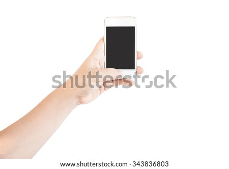 Hand holding smartphone for do something.