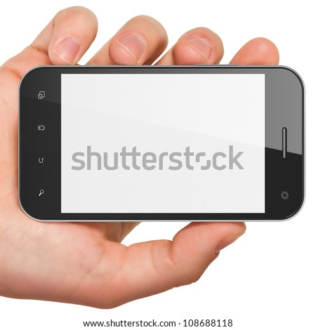 Hand holding smartphone on white background. Generic mobile smart phone, 3d render. Clipping path on screen. - stock photo