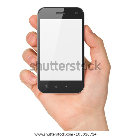 Hand holding smartphone on white background. Generic mobile smart phone  in hand, 3d render - stock photo
