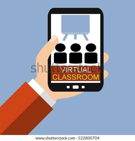 Hand Holding Smartphone Virtual Classroom Flat Stock