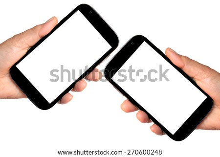 Hand holding Smartphone with blank screen isolated on white - stock photo