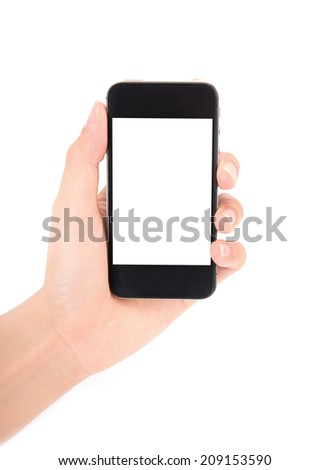Hand holding smartphone with blank screen isolated on white background