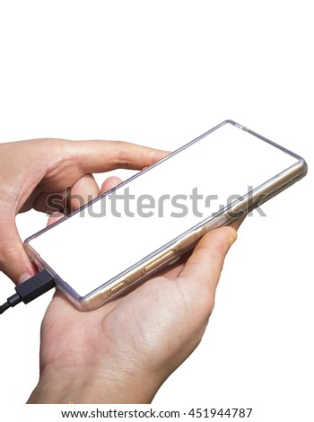 Hand holding smartphone with Charge battery.