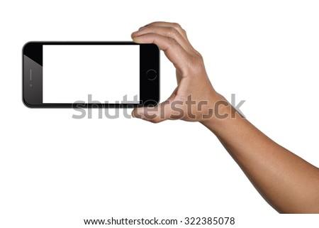 hand holding smartphone with clipping path screen vertical