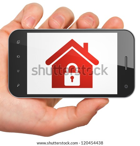 Hand holding smartphone with home on display. Generic mobile smart phone in hand on white background. - stock photo