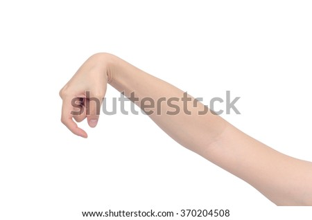 hand holding some like a blank on white background, with clipping path - stock photo