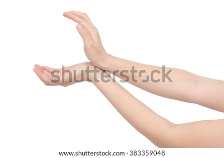hand holding some like a blank on white background ,with clipping path - stock photo