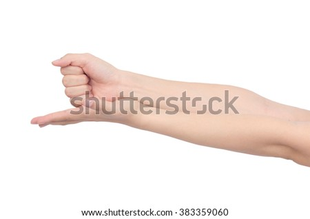 hand holding some like a blank on white background ,with clipping path