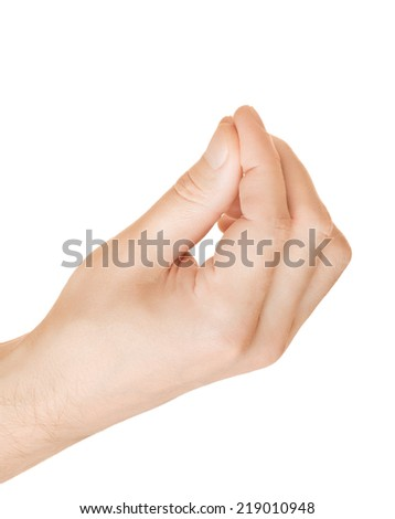 Hand holding some object, or explains something - stock photo
