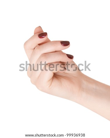 Hand holding something (business card, money), or showing a manicure - stock photo