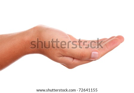 hand holding something with space in blank for  insert text or design - stock photo