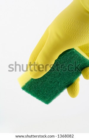 hand holding sponge on a white background