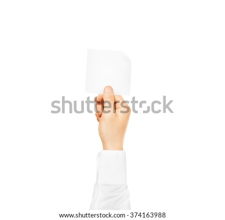 Hand holding square blank white sticker mock up isolated. Sticker mockup holder. Empty paper clue remnder hold in hands. - stock photo