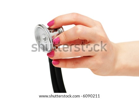 Hand holding stethoscope isolated on  the white - more similar photos in my portfolio