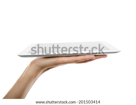 Hand holding tablet pc - stock photo