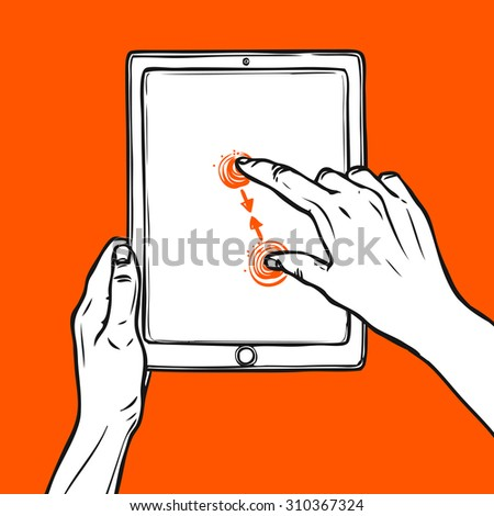 Hand holding tablet portable device and pinch gesture sketch on red background  illustration - stock photo