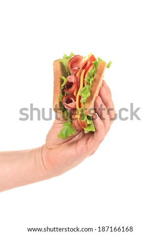 Hand holding tasty sandwich. Isolated on a white background. - stock photo