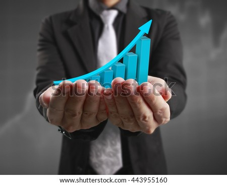Hand holding the chart,graph - stock photo