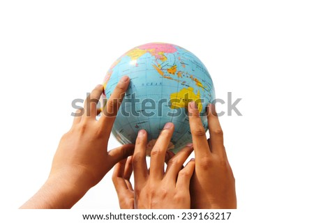 hand holding the globe on isolated background