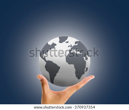 hand holding the globe with the palm over blue background - stock photo