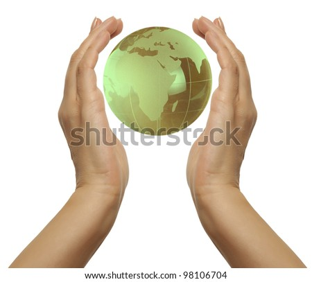 Hand holding the green Earth