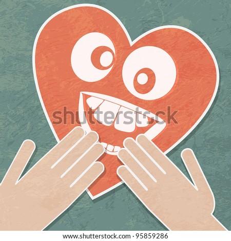 Hand holding the heart. Charity. cheerful heart. - stock photo