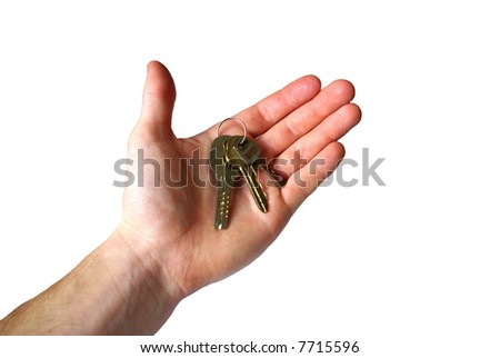 hand holding the key of success