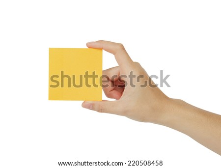 Hand holding the note Isolated on white background