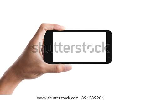 hand holding the smartphone isolated on white background. - stock photo