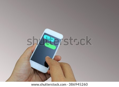 hand holding the smartphone with blank message template