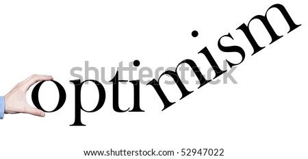 "Hand holding the word ""optimism"" - stock photo"