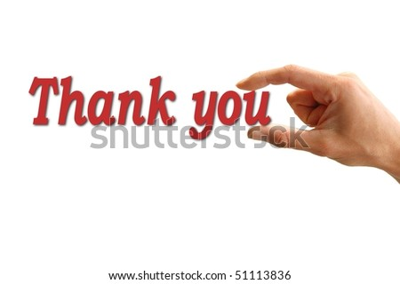 hand holding the word thank you isolated on white background - stock photo