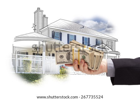 Hand Holding Thousands of Dollars In Cash Over House Drawing and Photo Area. - stock photo