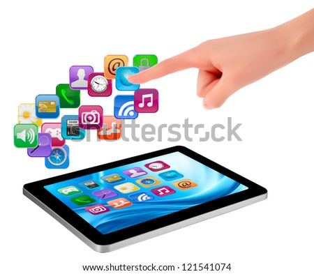 Hand holding touch pad pc and finger touching it's screen with icons. Raster version of vector. - stock photo