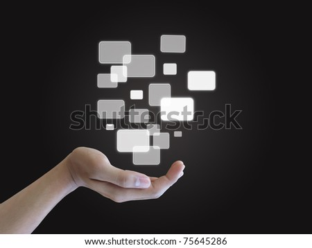 Hand holding touch screen interface - stock photo