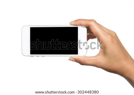 Hand holding touch screen mobile phone. Isolated on white. - stock photo