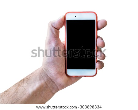 Hand holding touch screen mobile phone isolated on white - stock photo